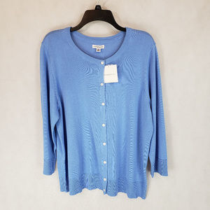 NEW Croft & Barrow XL Blue Button Cardigan Sweater